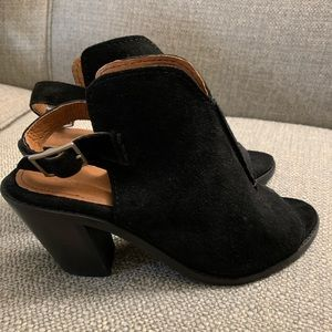 Frye Black Courtney Sling Back Block Heel Open Toe